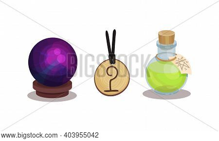 Fortune Telling Symbols With Orb And Potion In Glass Jar Vector Set