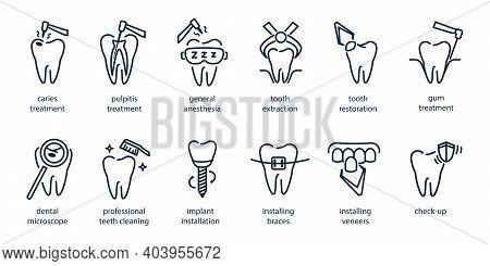 Set Of Line Dentistry Icons. Dental Flat Vector Elements.
