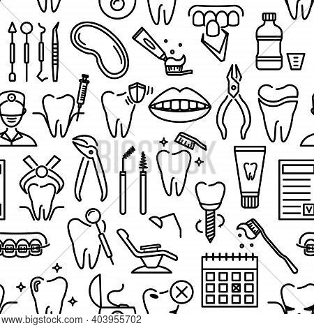 Seamless Pattern With Line Dentistry Icons. Dental Flat Vector Elements.