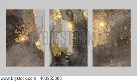 Set Of Templates For Banner, Poster Design With Sparkling Black And Gold Marble Texture