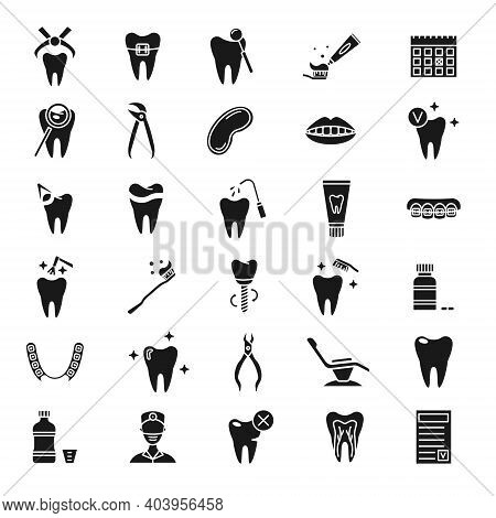 Set Of Simple Dentistry Icons. Dental Flat Vector Elements.