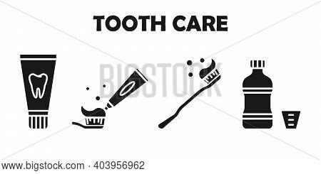 Set Of Simple Dentistry Icons. Dental Flat Vector Elements. Tooth Care