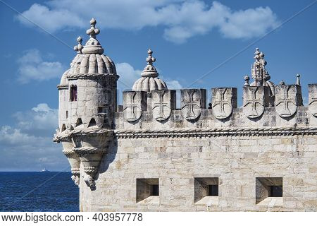 Belem Tower Is A Fortified Tower Located In The Civil Parish Of Santa Maria De Belem In Lisbon, Port