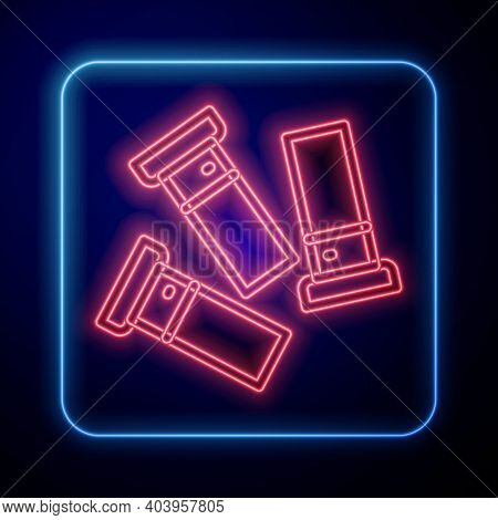 Glowing Neon Cartridges Icon Isolated On Blue Background. Shotgun Hunting Firearms Cartridge. Hunt R
