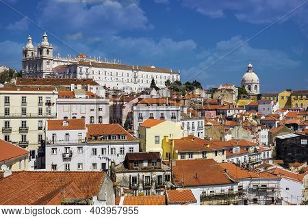Sao Vicente De Fora Monastery And Dome Of The National Pantheon Seen From Portas Do Sol Belvedere Wi