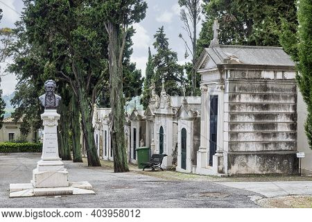 Crypts And Details Of The Family Tombs On The Old City Cemetery Cemiterio Dos Prazeres In Lisbon, Po