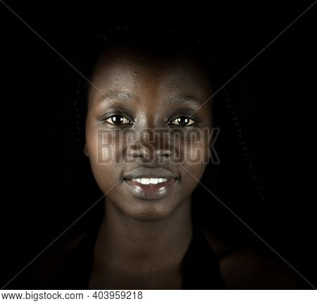 Young black African American woman portrait in indoors