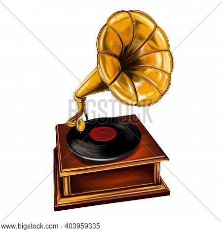 Gramophone Music Player Art Illustration Painted With Watercolors Isolated On White Background
