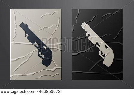 White Police Shotgun Icon Isolated On Crumpled Paper Background. Hunting Shotgun. Paper Art Style. V