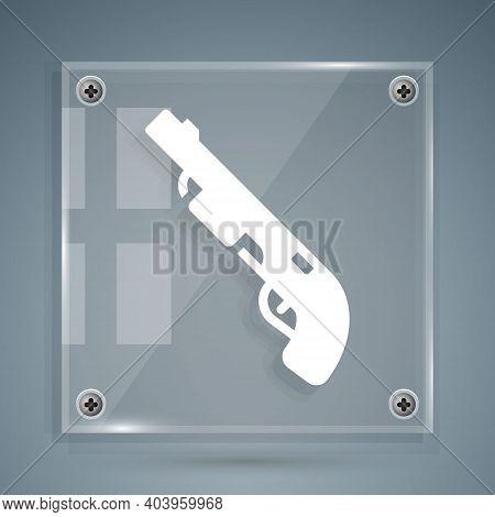 White Police Shotgun Icon Isolated On Grey Background. Hunting Shotgun. Square Glass Panels. Vector
