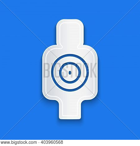 Paper Cut Human Target Sport For Shooting Icon Isolated On Blue Background. Clean Target With Number