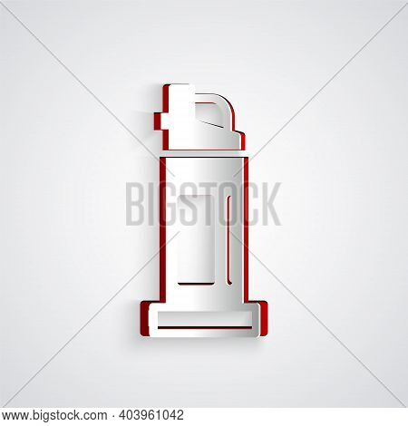 Paper Cut Pepper Spray Icon Isolated On Grey Background. Oc Gas. Capsicum Self Defense Aerosol. Pape