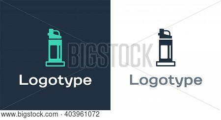 Logotype Pepper Spray Icon Isolated On White Background. Oc Gas. Capsicum Self Defense Aerosol. Logo