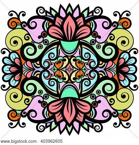 Floral Abstract Ornament, Bright Colorful Pattern, Multicolored Ethnic Tracery, Hand Drawing. Ornate