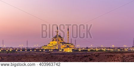New Sharjah Mosque, The Largest Mosque In The Emirate Of Sharjah, The United Arab Emirates, Panorama