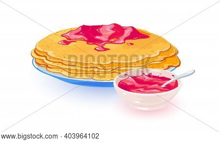 Hot Pancakes With Raspberry Jam Served On Plate. Vector Delicious Sweet Fruity Breakfast, Fried Crep
