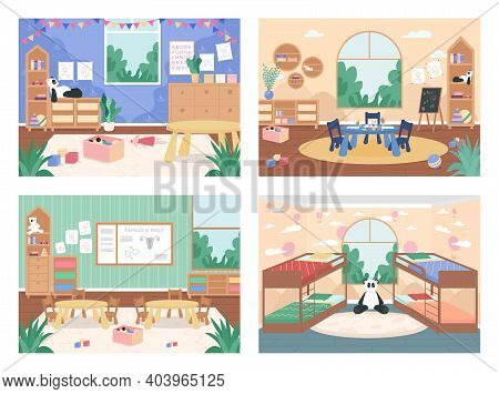 Kindergarten Class With No People Flat Color Vector Illustration Set. Playroom For Children With Tab