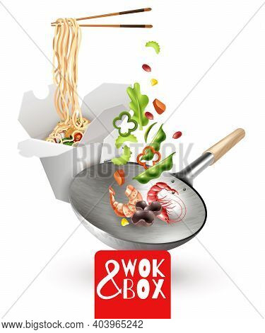 Realistic Chinese Noodles In Cardboard Box, Wok With Flying Ingredients Including Vegetables, Shrimp