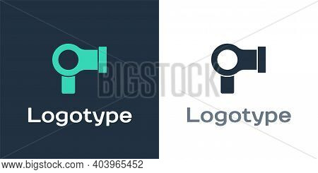 Logotype Hair Dryer Icon Isolated On White Background. Hairdryer Sign. Hair Drying Symbol. Blowing H