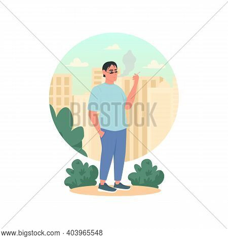 Smoker 2d Vector Web Banner, Poster. Guy With Cigarette. Tobacco Abuse. Man Smoking Flat Character O