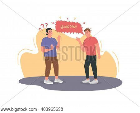 Angry Man Cursing, Swearing 2d Vector Web Banner, Poster. Irritated Guy. Quarrel, Disagreement. Conf