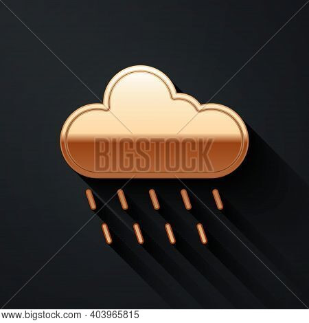 Gold Cloud With Rain Icon Isolated On Black Background. Rain Cloud Precipitation With Rain Drops. Lo
