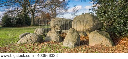 Panorama Of A Typical Dutch Prehistoric Burial Ground Formed By Large Boulders Called Hunebed In Nor