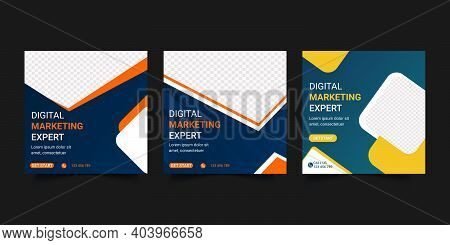 Digital Business  Marketing  Web Banner For Social Media Post Design. Online Marketing Agency Digita