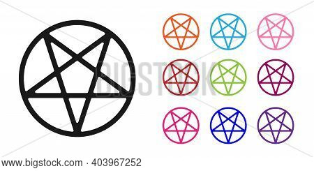 Black Pentagram In A Circle Icon Isolated On White Background. Magic Occult Star Symbol. Set Icons C