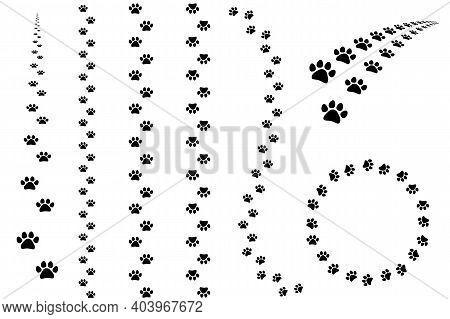 Tracks Of Cat Or Dog Tracks, Footprint, Design. Tracks Of Tracks Of Different Animals. Vector Illust