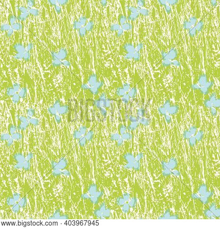 Abstract Grassland Meadow Vector Pepeat Background. Seamless Irregular Textured Green Nature Design