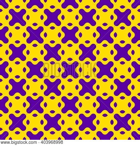 Simple Vector Seamless Pattern With Curved Shapes, Crosses. Crazy Bright Colors, Neon Purple And Yel