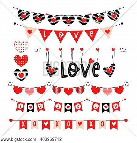 Valentines Day Heart Bunting Wedding Garland Set