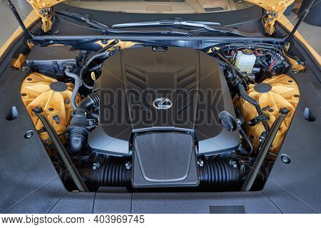 BUDAPEST, HUNGARY - CIRCA 2020: Engine bay of a Lexus LC 500 convertible sports coupe with a naturally aspirated V8 engine producing 471 horsepower