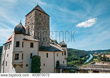 Riedenburg, Germany - July 29, 2020: Prunn Castle In The Altmuehltal Valley At Riedenburg,