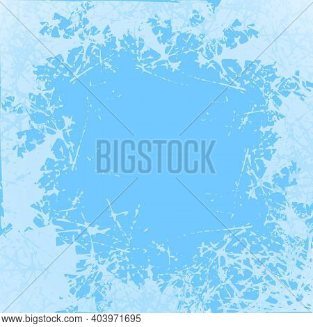 Blue Frosted Window. Snow Frame With Frosty Patterns. Design Modern Jpeg Illustration