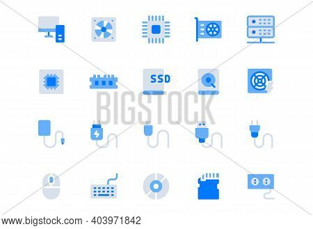 Electric Component Simple Flat Icons. Vector Illustration With Minimal Icon - Chip, Computer, Cpu, G