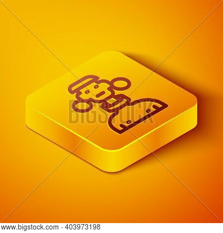 Isometric Line African Tribe Male Icon Isolated On Orange Background. Yellow Square Button. Vector