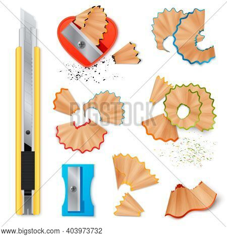 Realistic Set Of Stationery With Sharpener Knife For Pencils Sharpening And Shavings Isolated Icons