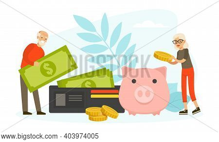 Pension Savings Concept, Senior People Holding Dollar Banknotes And Putting Coins In Piggy Bank, Pen