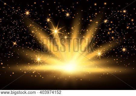 Light Effect, Shining Golden Bright Light. Gold Shine Burst With Sparkles