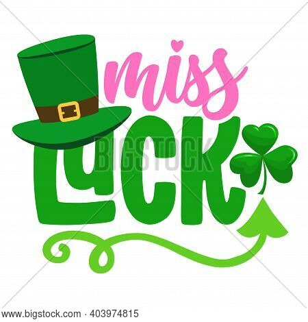 Miss Lucky - Funny St Patrick's Day Design For Posters, Flyers, T-shirts, Cards, Invitations, Sticke