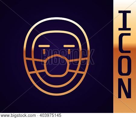 Gold Line Doctor Pathologist Icon Isolated On Black Background. Vector