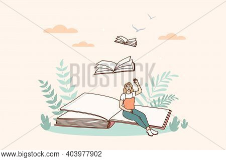 Creative Ideas And Books Message Concept. Smiling Woman Cartoon Character Sitting On Open Book Page