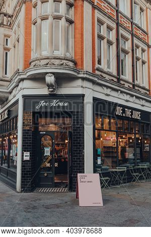London, Uk - October 10, 2020: Entrance Of Joe And The Juice Cafe In Richmond, London. Joe And The J