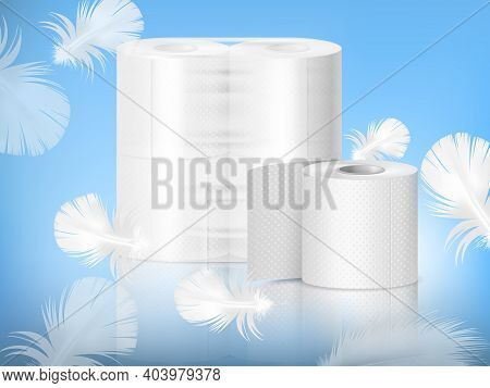 White Textured Toilet Paper, Single Roll And Polythene Packaging, Realistic Composition, Blue Backgr