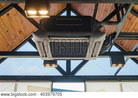 Ceiling Mounted Cassette Type Air Conditioner In The Cafes. Ceiling Air Conditioning System, Open-ai