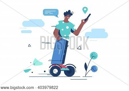 Guy Riding Gyro Scooter Vector Illustration. Man With Smartphone On Electric Scooter. Gyroscooter, S