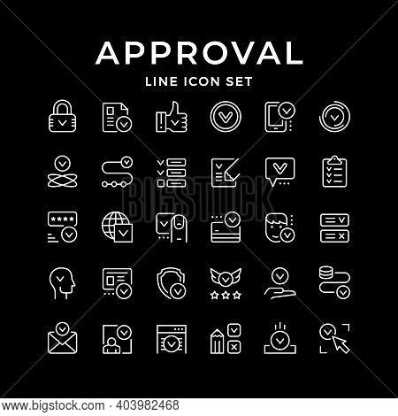 Set Line Icons Of Approval Isolated On Black. Thumb Up, Person Approving, Money Transfer, Credit Or