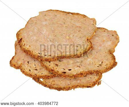 Thin Slices Of Haslet Meat Isolated On A White Background, Haslet Is An English Pork And Herb Meatlo